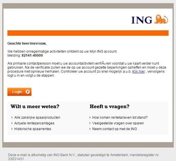 Voorbeeld phishing e-mail